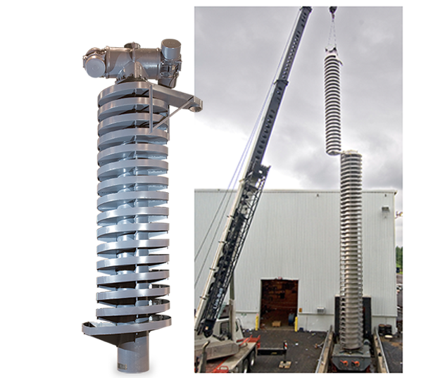 The photo to the right illustrates a 52 ft. tall DDSP spiral designed to elevate and cool product. The upper TMSP spiral elevates product an additional 27 ft.